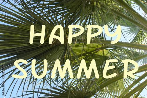 Fotografia  Bright background with the inscription Happy Summer