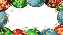 Festive Christmas Winter Frame For The New Year Of Colorful Balls, Christmas Decorations With A Pattern Of Snowflakes And Fir Branches With Gold Ribbons Isolated On White. Vector Background