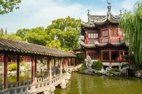 Bridge leading to building in Yu Yuan Garden, Shanghai China. Canvas Print