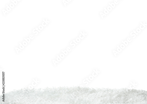 Pure fluffy snow isolated on white. Festive background