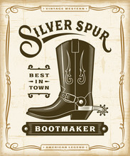 Vintage Western Bootmaker Label Graphics. Editable EPS10 Vector Illustration In Woodcut Style.