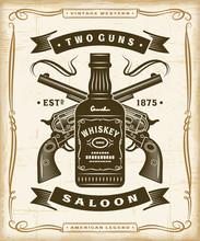 Vintage Western Saloon Label Graphics. Editable EPS10 Vector Illustration In Woodcut Style.