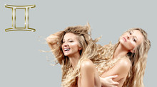 Astrology And Horoscope. Gemini Zodiac Sign, Two Beautiful Women With Curly Long Hair
