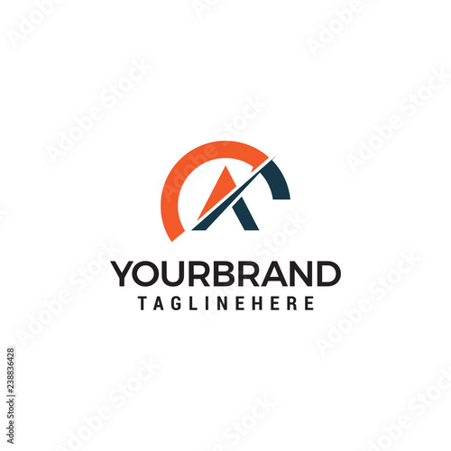 Photo Speed letter A with tachometer logo