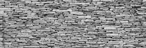 Fotografie, Obraz  black & white stone wall panorama