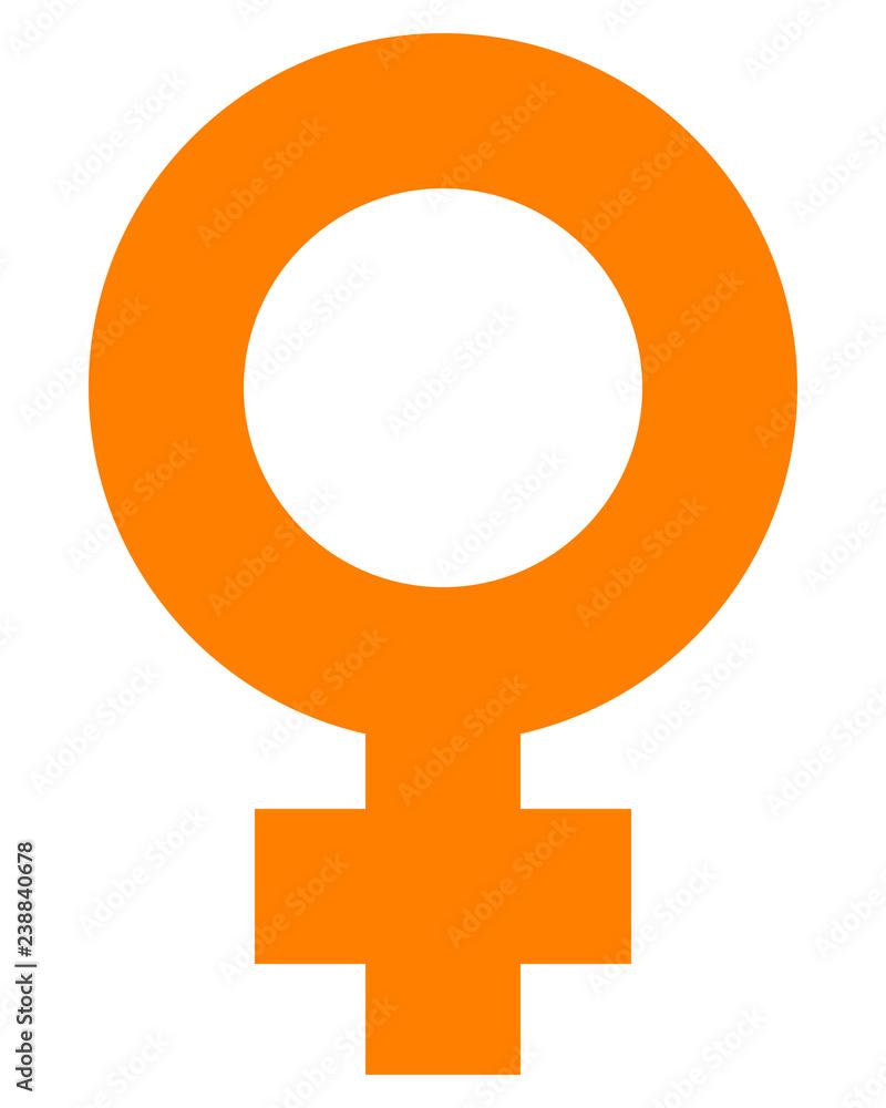 Fototapeta Female symbol icon - orange simple thick, isolated - vector