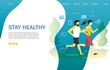 Stay healthy landing page website vector template