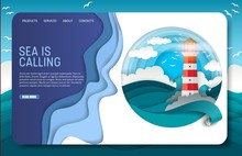 Vector Paper Cut Lighthouse Landing Page Website Template