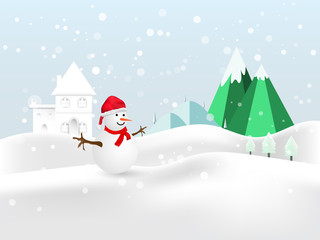 Merry Christmas Snowman in hat and glove red on winter night background  Vector