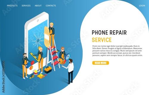 Fotografía  Phone repair service landing page website vector template
