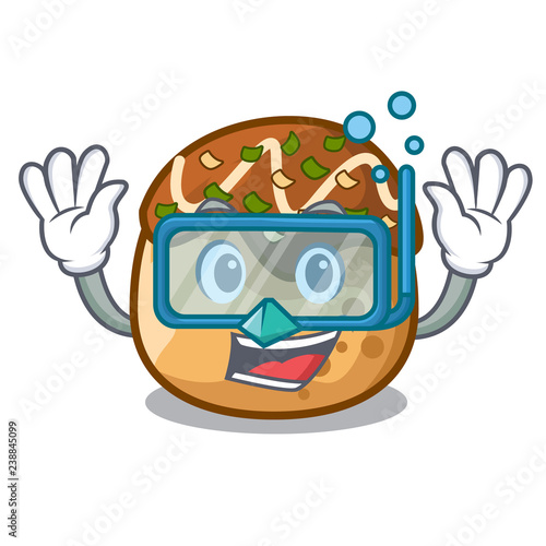 Photo  Diving takoyaki character in octopus balls food