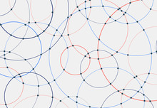 Abstract Blue And Red Circles Lines Round Overlay White Background And Connecting Dots Technology Concept For Your Design.