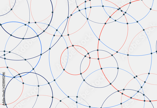 Fotomural Abstract blue and red circles lines round overlay white background and connecting dots technology concept for your design