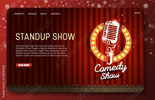 Fotografija  Standup show landing page website vector template