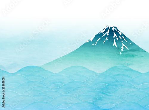 Fotografie, Obraz 富士山 和紙 年賀状 背景