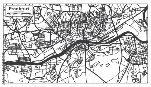 Frankfurt Germany City Map In Retro Style Outline Map Buy This