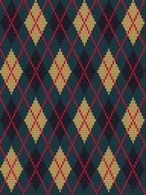 Argyle Print. Seamless Knitted...