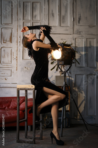 Fotografie, Tablou  Actress in action. Rehearsal before the performance.