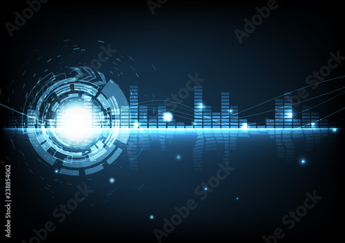 Fotografía  Abstract background digital technology modern music equalizer glowing futuristic