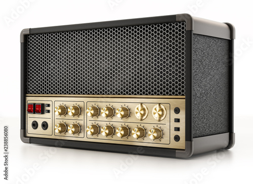 Photo Generic guitar amplifier isolated on white background