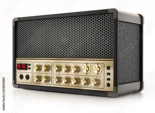 Fototapeta Generic guitar amplifier isolated on white background