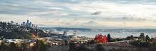 Fall Season Panorama Of Elliot Bay Seattle From Magnolia Neighborhoods With Mt Rainier