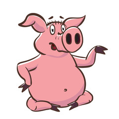 Cute pig shows a little teapot. Pink piggy cartoon character vector stock illustration