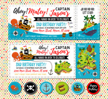 Pirate Birthday Invitation. Treasure Map Invitation. Pirate Party Decorations For Birthday Party Or Baby Shower. Pirate Cupcake Toppers. Vector Illustration. - Vector