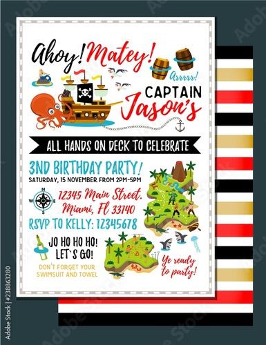 Photo Pirate birthday invitation