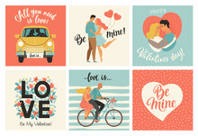 Collection Of Designs With Cute Loving Couples. Valentines Day Card And Other Flyer Templates With Lettering. Typography Poster, Card, Label, Banner Design Set. Vector Illustration.