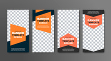 Design Of Vector Vertical Banners In Black With A Place For A Photo And Orange Geometric Elements For Text.