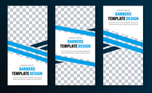 Templates For Vertical Web Banners With Blue Diagonal Intersecting Lines And Space For A Photo