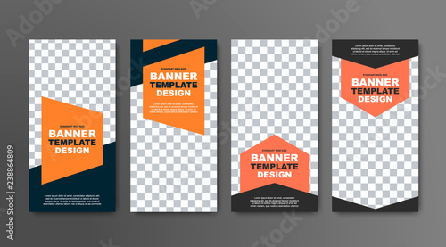 Fotografia  Design of vector vertical banners in black with a place for a photo and orange geometric elements for text