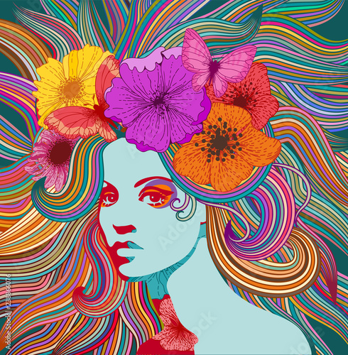 Psychedelic portrait of a hippie woman with colorful hair, flowers and butterflies фототапет