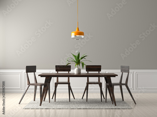Fototapeta Spacious dining room with wooden table and chairs