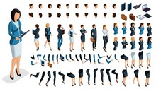 Large Isometric Set Of Gestures Of Hands And Feet Of A Woman 3d Business Lady. Create Your Own Isometric Character For An Office Worker For Vector Illustrations