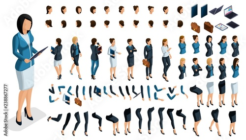 Large isometric Set of gestures of hands and feet of a woman 3d business lady Fototapeta
