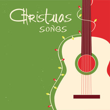 Christmas Songs Guitar On Red Green Background.Vector Greeting Card With Acoustic Guitar