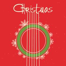 Christmas Guitar Red Backgroun...