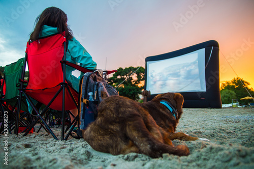 Cuadros en Lienzo GIRL WITH DOG AT CINEMA ON THE BEACH AT NIGHT