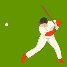Baseball Player, Vector Illustration , Flat Style