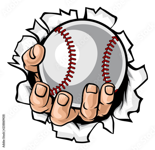 Photo  A strong hand holding a baseball ball tearing through the background