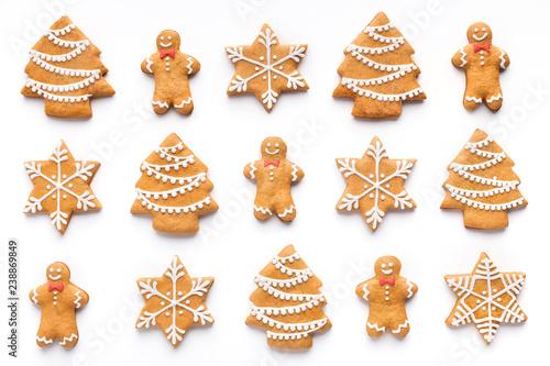 Fototapeta Homemade christmas cookies on white background, top view obraz