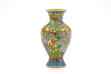 Vase : Antique Chinese Cloisonne Enamel Vase Isolated On White Background