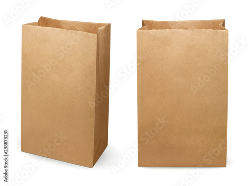 Fotografering Brown paper bag isolated on white background