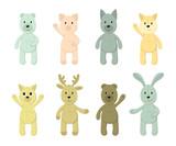 Fototapeta Pokój dzieciecy - Vector Set of cute toy animals: polar bear, brown bear, piglet, fox, hare, rabbit, dog, wolf, cat, deer for your design. Print for kids, baby