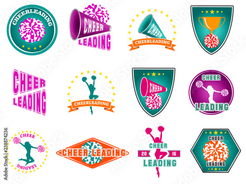 Cuadros en Lienzo Set of labels, logos for cheerleading