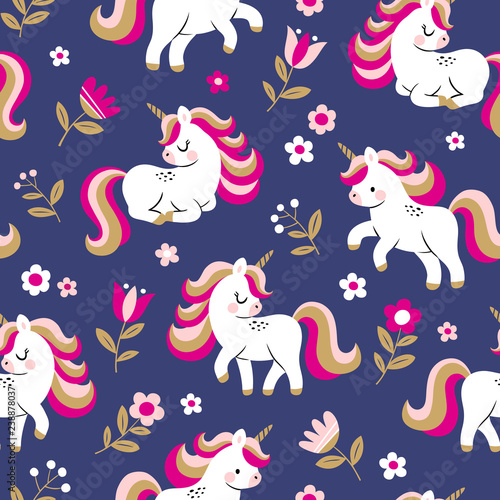 hand-drawn-seamless-vector-pattern-with-cute-baby-unicorns-and-flowers-on-dark-blue-background-perfect-for-fabric-wrapping-paper-or-nursery-decor
