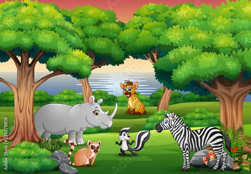 Cartoon wild animal enjoying in the jungle