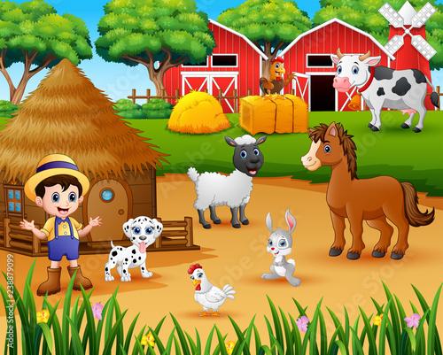 Farmer and farm animal in the farmyard Canvas Print